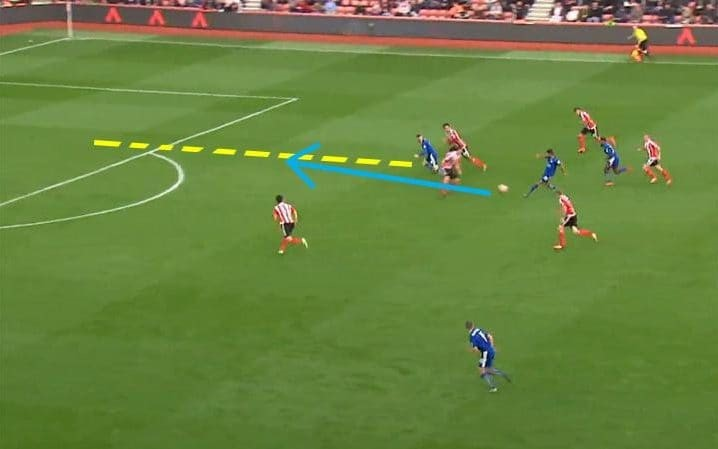 Image 3: Jamie Vardy makes an attacking run in behind the final line of the defence to put him through on goal.