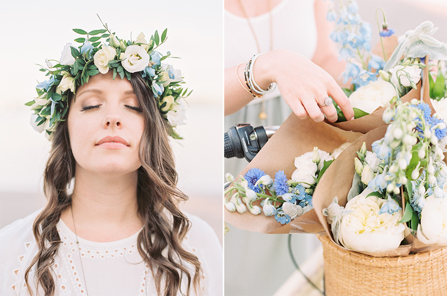 Floral crown and mini bouquets by  Blush and Bloom