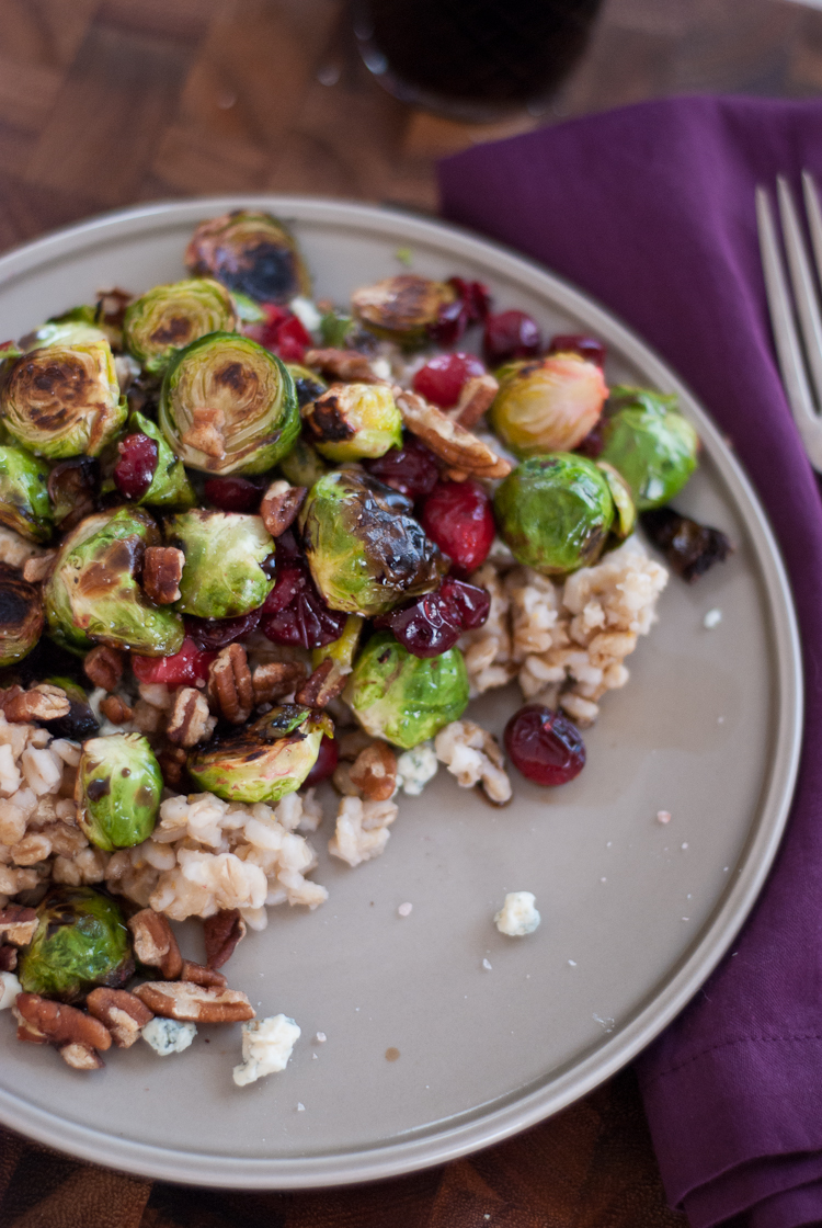 Roasted Brussel Sprouts and Cranberries with Barley