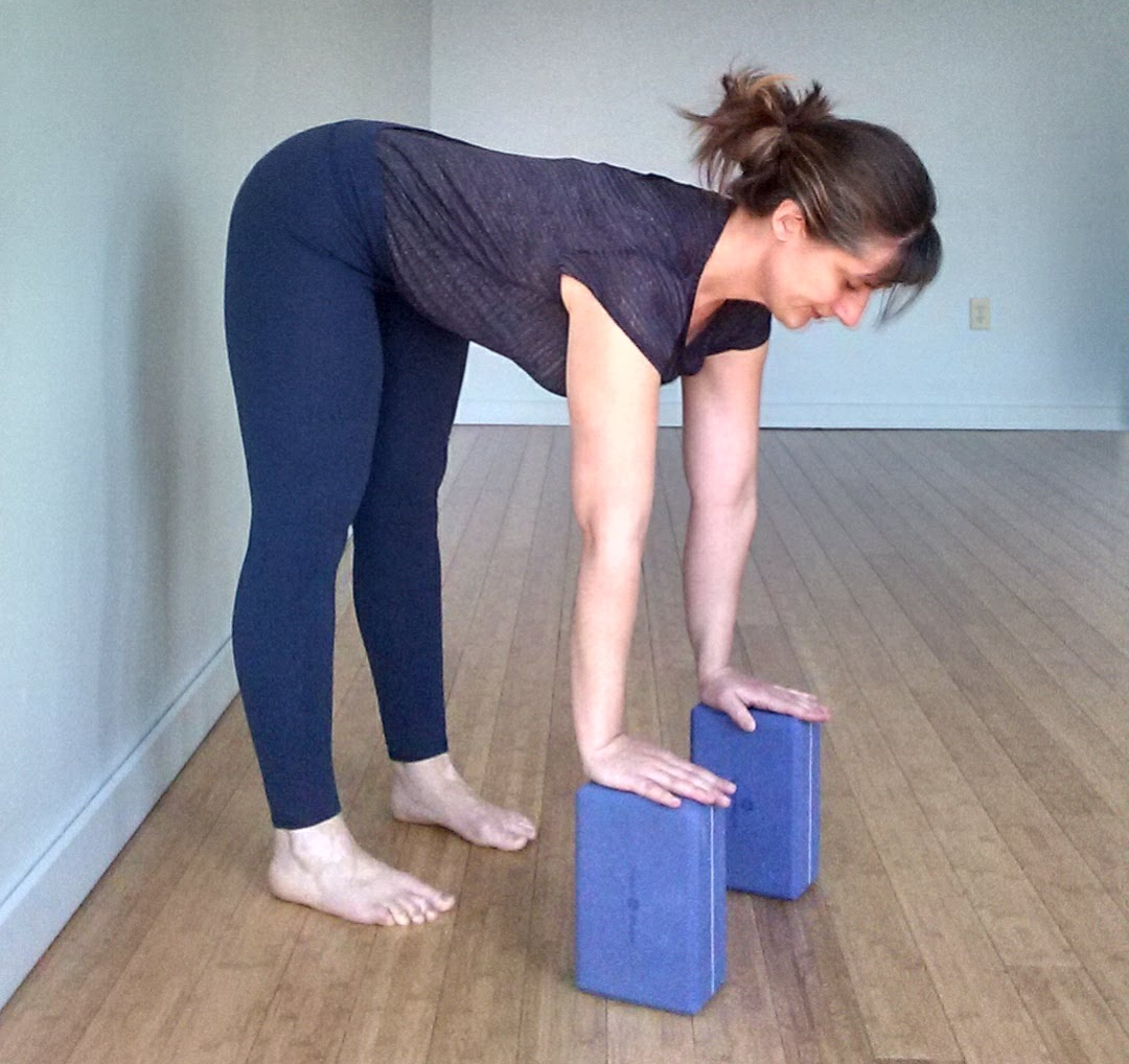 - Place your hands on blocks. Here we are moving deeper into the pose as the hamstrings become more flexible.Use your breath and be patient. Lengthening a muscle takes time and patience! If you go too deep too fast, you may trigger your stretch reflex, which causes the hamstrings to contract rather than stretch.
