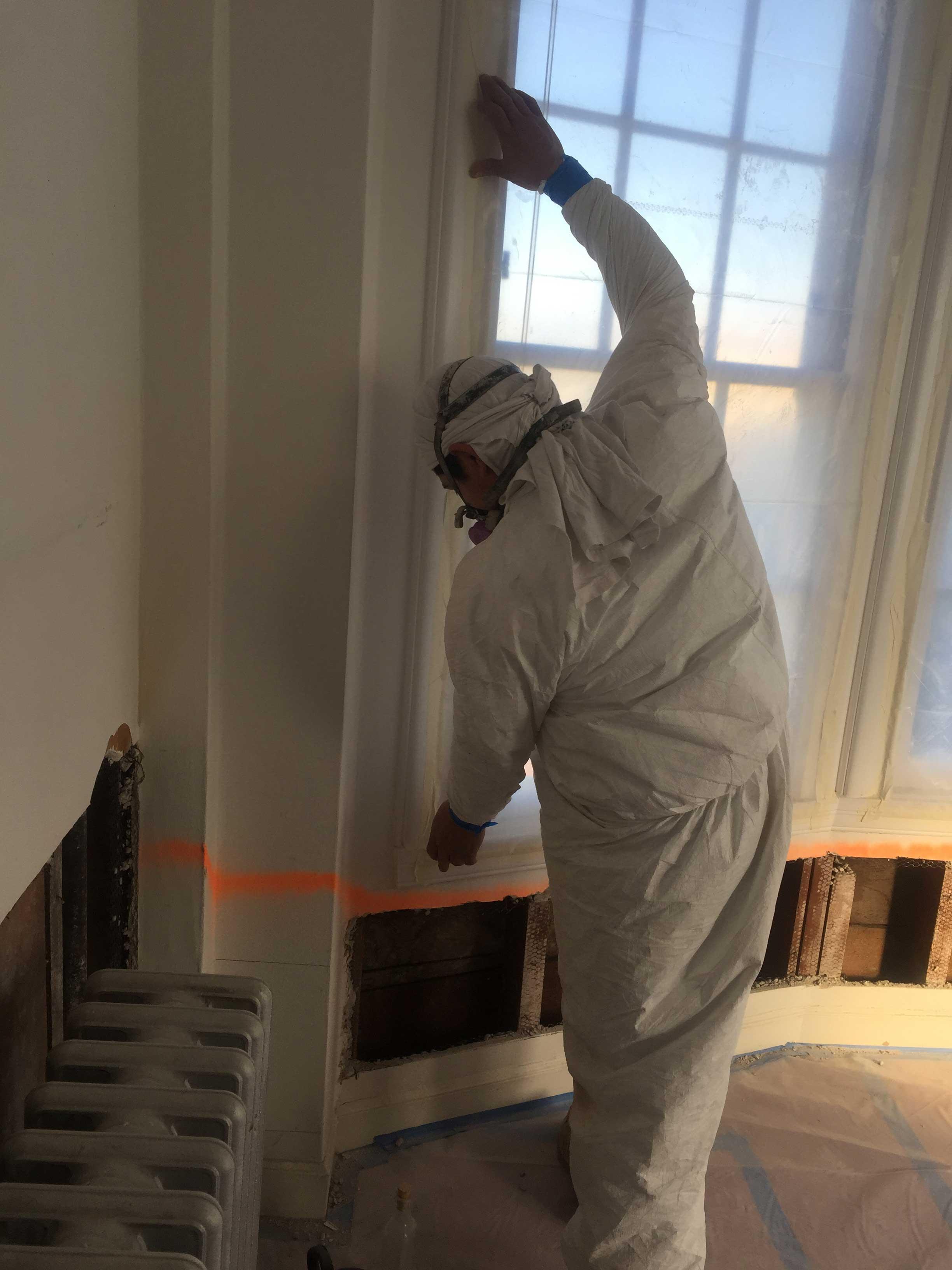 Employee Preparing for Lead Remediation