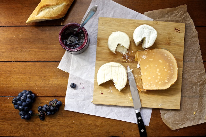 Cheese Plate with Concord Grape Jam.