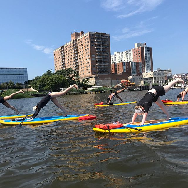 Put your leg 🦵 up if you're ready to jump in the water #dogdays #summer #summervibes #supyoga #standuppaddle #redbank #jerseyshore #nj