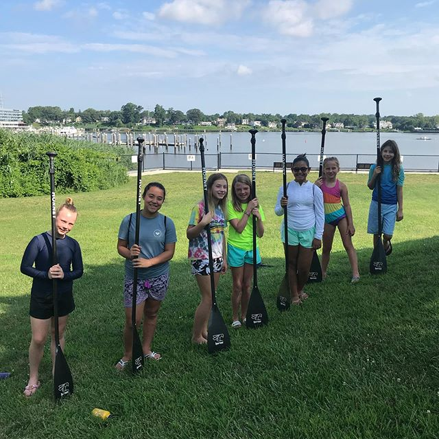 Great first day of our Kids Camp! These girls nailed their technique drills and mastered the winds. Even picked up a new 🐶 camper along the way! #standuppaddle #kidscamp #redbank #navesink #jerseyshore #nj #girlsrule #girlsquad