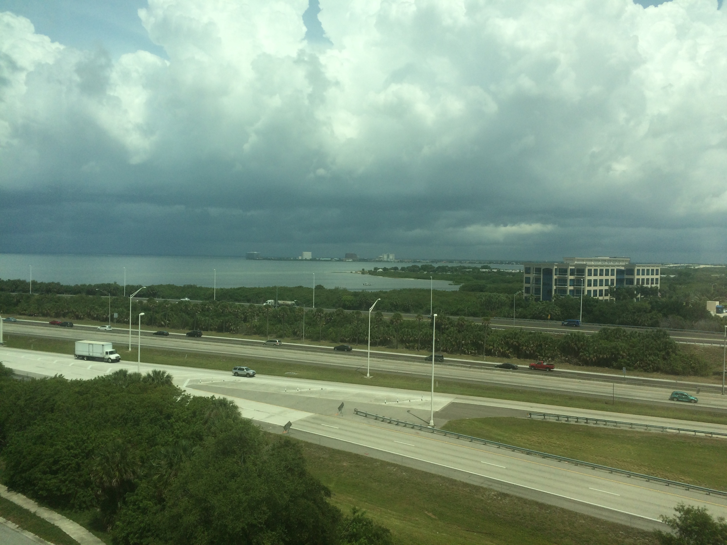 Check out the view- it's hard to see but we're looking right at Tampa Bay towards Tampa International Airport