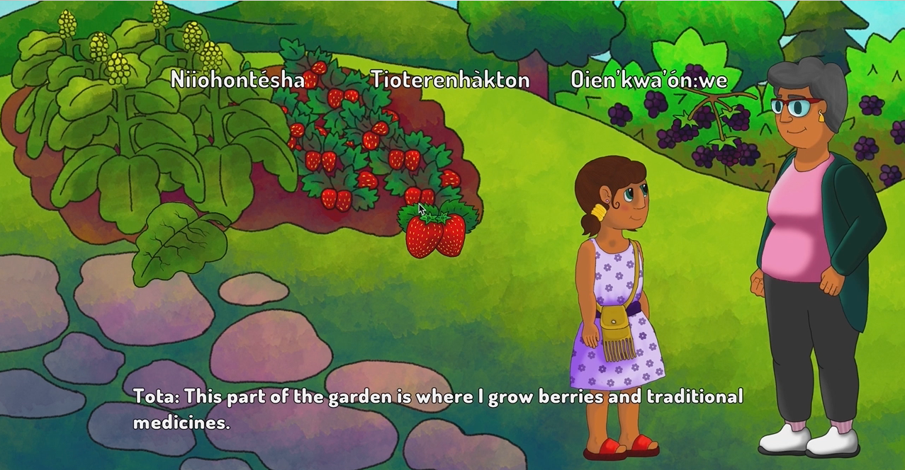 Karihonniennihtshera (Teachings) - Artists: Kahentawaks Tiewishaw-Poirier (Kanien'kehá:ka)Canada | 2019 | Mobile GameAll AgesEnter a bilingual interactive storybook, playable in both English and in Kanien'kéha, and follow a young girl named Ietsistohkwaroroks as her Grandmother teaches her the importance of taking care of Mother Earth. While on this journey she, and the player, learn to identify the local flora and fauna of her home territory.Kahentawaks Tiewishaw-Poirier is a 3D artist, illustrator, and sculptor. She is studying in her final year of Computation Arts at Concordia University in Montreal. After graduating she hopes to go on creating games that reinforce the Kanien'kehá:ka language, and culture.
