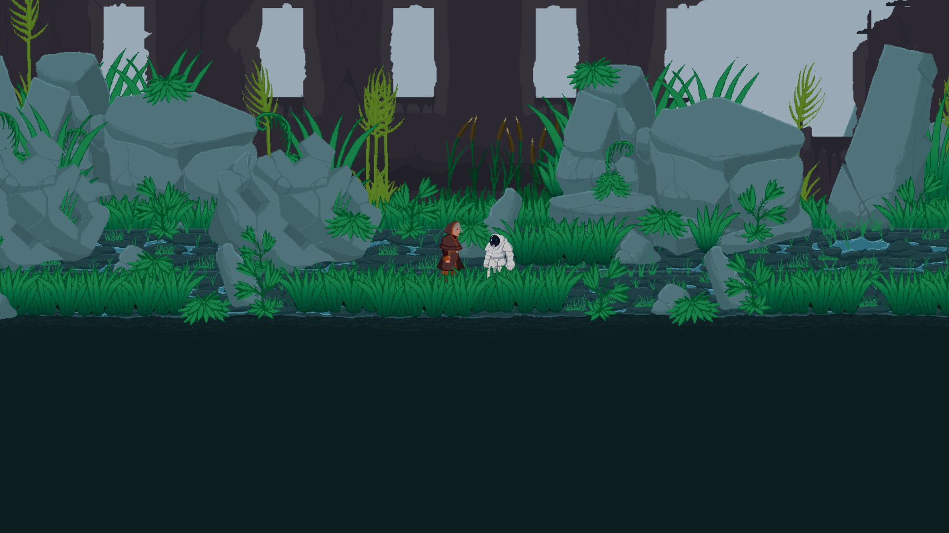 Terra Nova - Artist: Maize Longboat (Kanien'kehá:ka), Ray Caplin (Mi'gmaq)Canada   2019   GameAll AgesSet on Earth in the far distant future, this 2-player cooperative platformer explores what first contact between Indigenous and Settler peoples might look like thousands of years from now. Two worlds collide after a mysterious spacecraft crashlands in Earthborn territory. Follow Terra, an Elder Earthborn landkeeper, and Nova, a youthful Starborn inventor as they explore their respective environments and interact with the people of their communities.Maize Longboat is Kanien'kehá:ka (Mohawk) from Six Nations of the Grand River and was raised on the traditional, ancestral, and unceded territory of the Coast Salish peoples near Vancouver, BC. He has an MA in Media Studies from Concordia University in Montreal, QC. His research-creation thesis project examined Indigenous videogames and culturally-connected development practices through the production of his own game, Terra Nova, a two-player, cooperative platformer with an interactive narrative. Currently, Maize is the Skins Workshops Associate Director with Aboriginal Territories in Cyberspace (AbTeC) and the Initiative for Indigenous Futures (IIF).