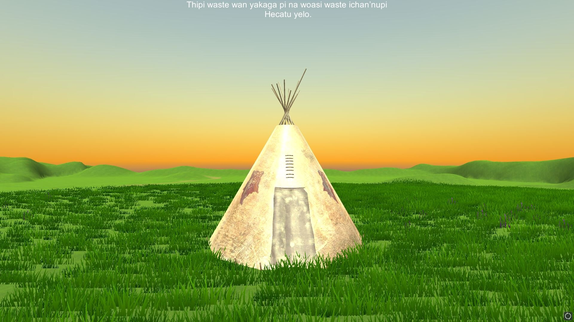 Tipi Kaga - Artist: Carl Petersen (Oohe Numpa Lakota, Cheyenne River Sioux Tribe), Megan Zephier (Yankton Sioux Tribe), James Sierra (Oglala Sioux Tribe)USA   2019   GameAll AgesLearn the steps of constructing a traditional Lakota Tipi (Tent Home) in Lakota while listening to fluent Lakota speakers. Learn Lakota through listening to the conversations found in the everyday of traditional camp life.Northern Plains Games is a Game Design Studio founded by Carl Petersen, a member of the Oohe Numpa Band of Lakota (Cheyenne River Sioux Tribe), to create games in the Lakota Language. Carl is a Game Design Student at Dakota State University, who grew up on the Cheyenne River Indian Reservation which shares geography with the U.S. State of South Dakota.