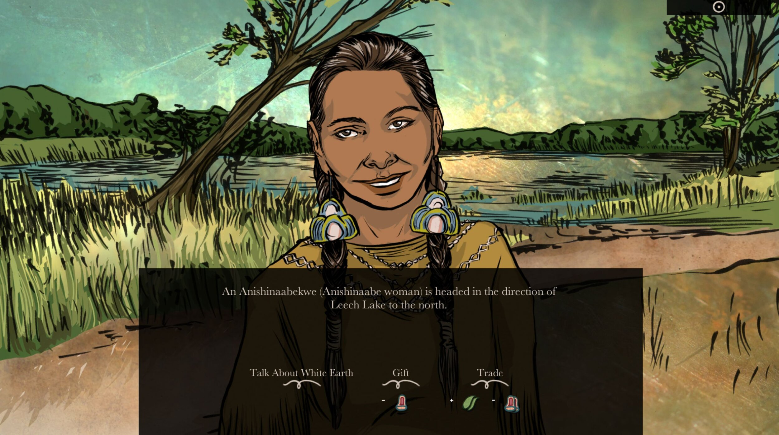 When Rivers Were Trails - Artist: Nichlas Emmons (Miami and Shawnee), Elizabeth LaPensée (Anishinaabe and Métis), Weshoyot Alvitre (Tongva), Supaman (Apsalooke)USA   2019   GameAll AgesWith contributions from over twenty Indigenous writers, follow an Anishinaabe person who has been displaced from their territory in Fond du Lac in Minnesota and must survive a journey to California due to the impact of allotment acts on Indigenous nations. Developed in collaboration with the Indian Land Tenure Foundation and Michigan State University's Games for Entertainment & Learning Lab.The WRWT Team is a collective of Indigenous game designers, artists, writers and musicians who were brought together by the Indian Land Tenure Foundation and Michigan State University's Games for Entertainment & Learning Lab to develop When Rivers Were Trails. This team includes Elizabeth LaPensee, Nichlas Emmons, Weshoyot Alvitre, Supaman, Allen Turner, Carl Petersen, Sara Siestreem and many more.