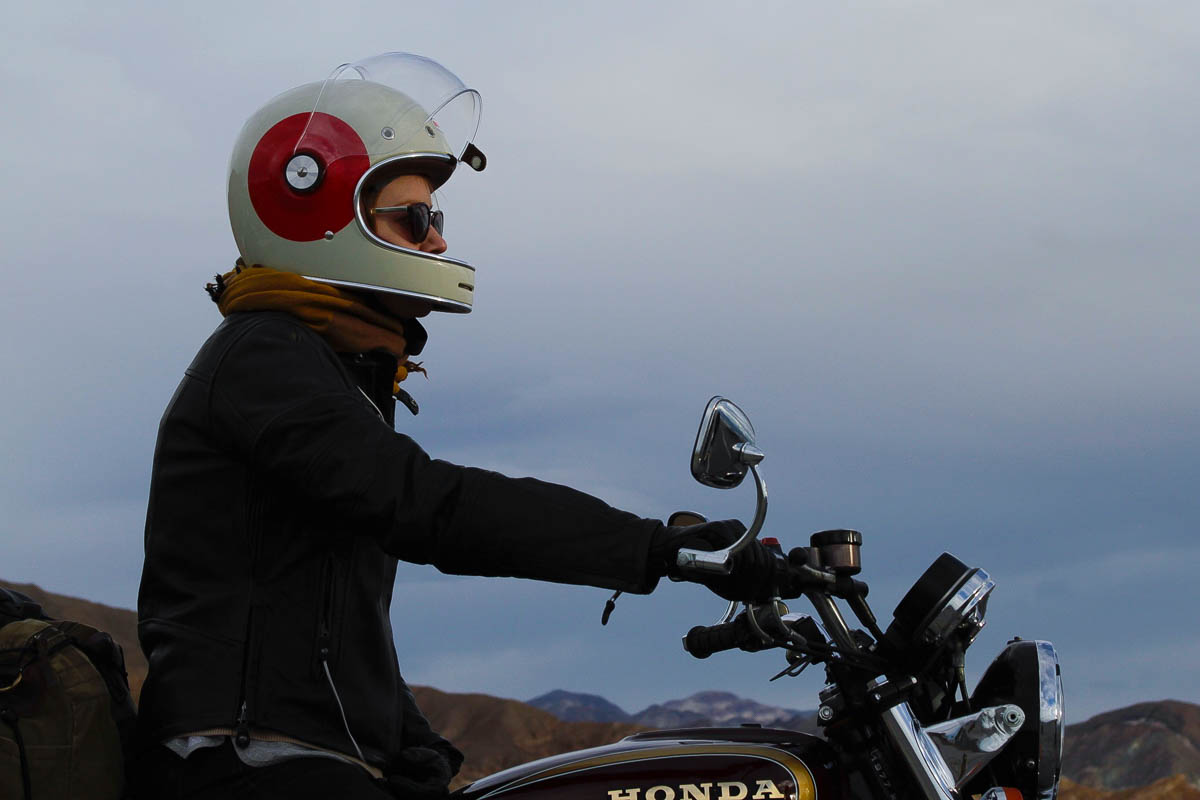 Kelsey Rides her CB550 in Death Valley
