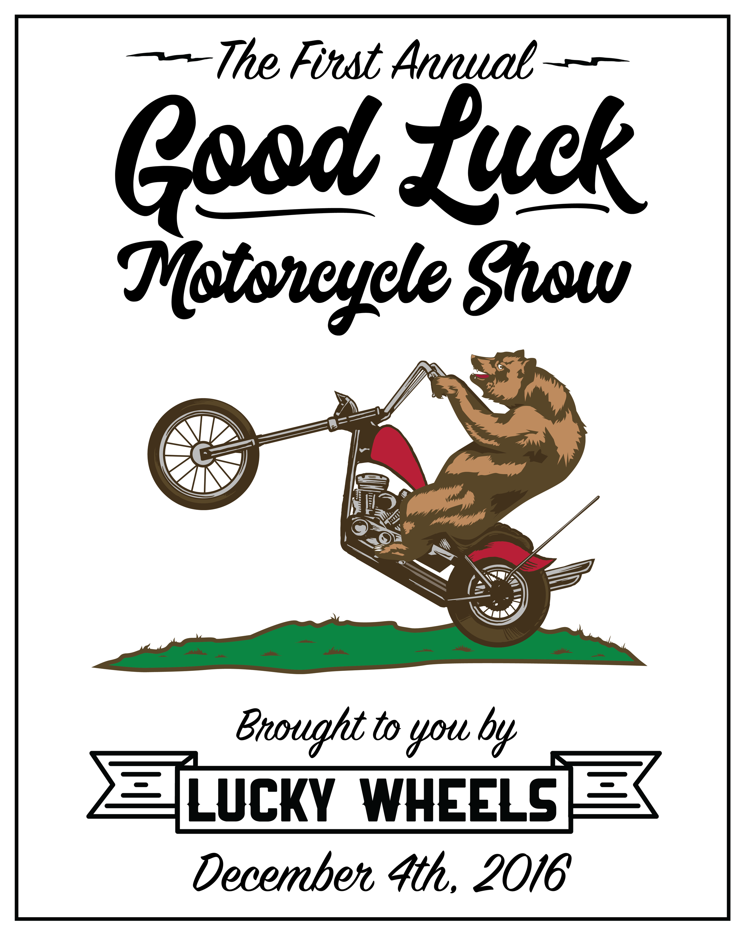 December 4th marks the one year anniversary of Lucky Wheels! What a year it's been. We've seen countless friendships made, knowledge shared, skills learned, and bikes built.     So - we're hosting a motorcycle show to commemorate just that. The skill, craftsmanship, and most of all, the DIY spirit that we're all about. We'll be showing off some of the best bikes that got built at Lucky Wheels this year, as well as some bikes from other builders that embody what we're all about. Doing it yourself! Stay tuned for more info about the show. And mark your calendar!    You won't want to miss this one!