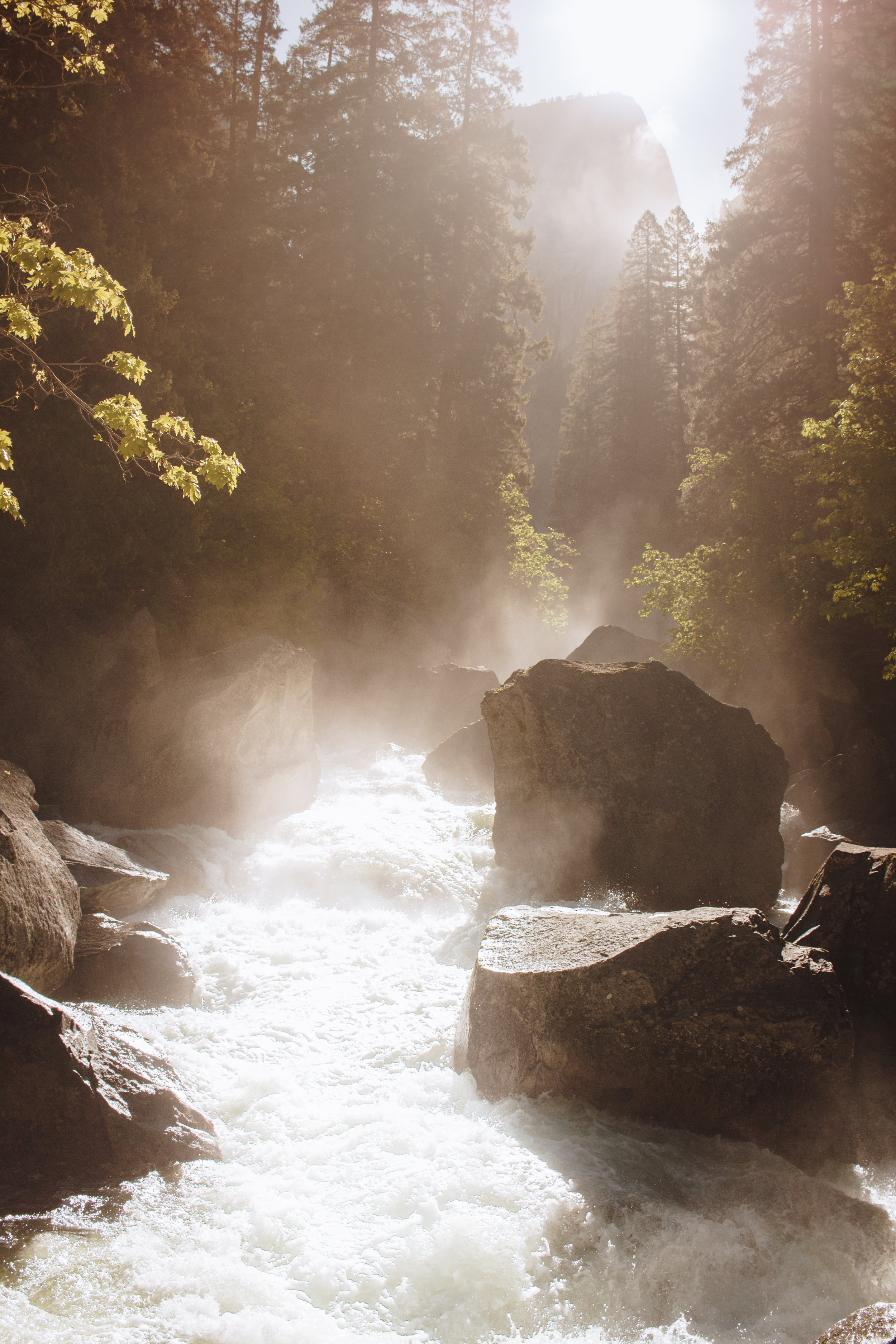 Vernal Falls Footbridge in the early morning