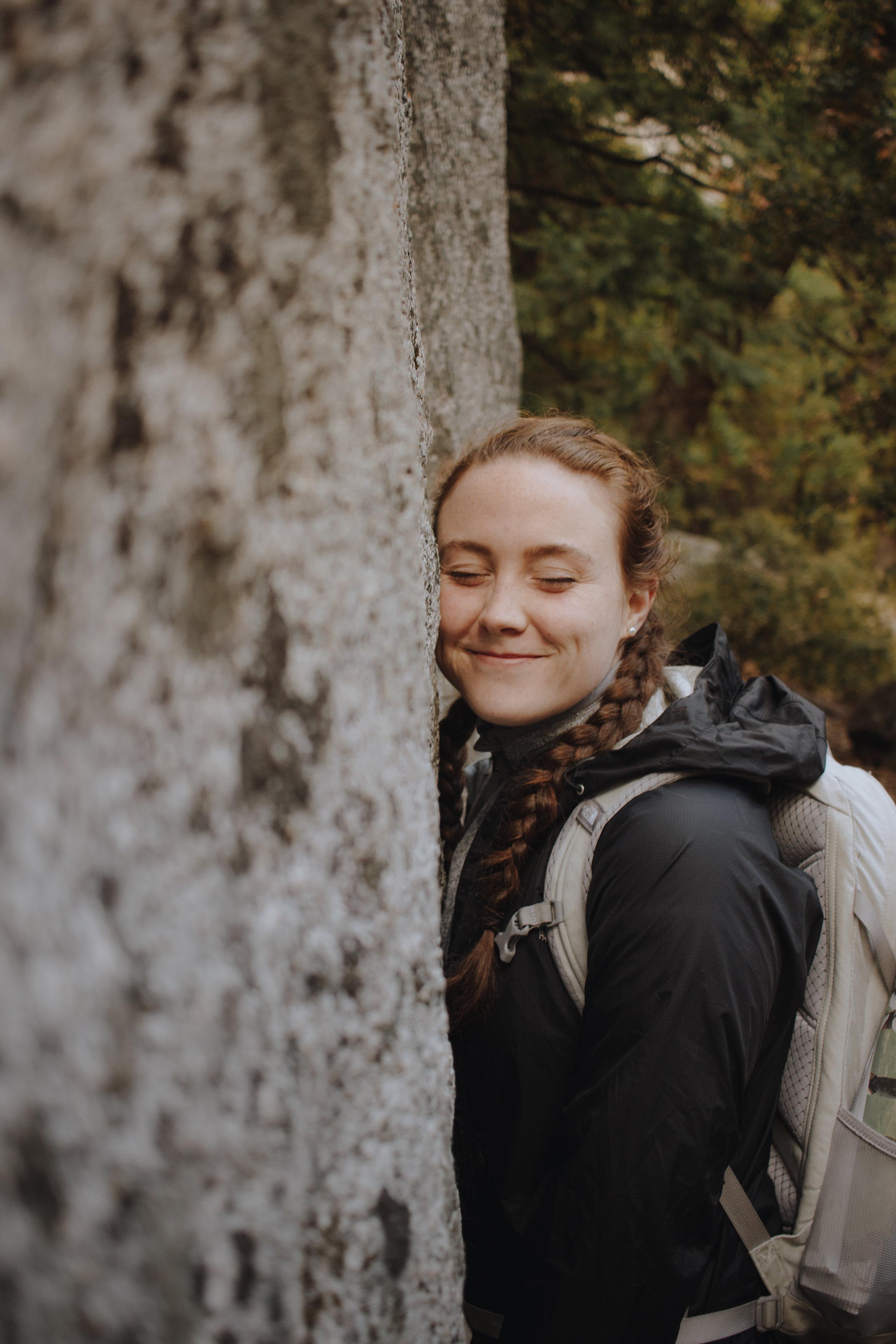 Emma- our resident rock hugger?