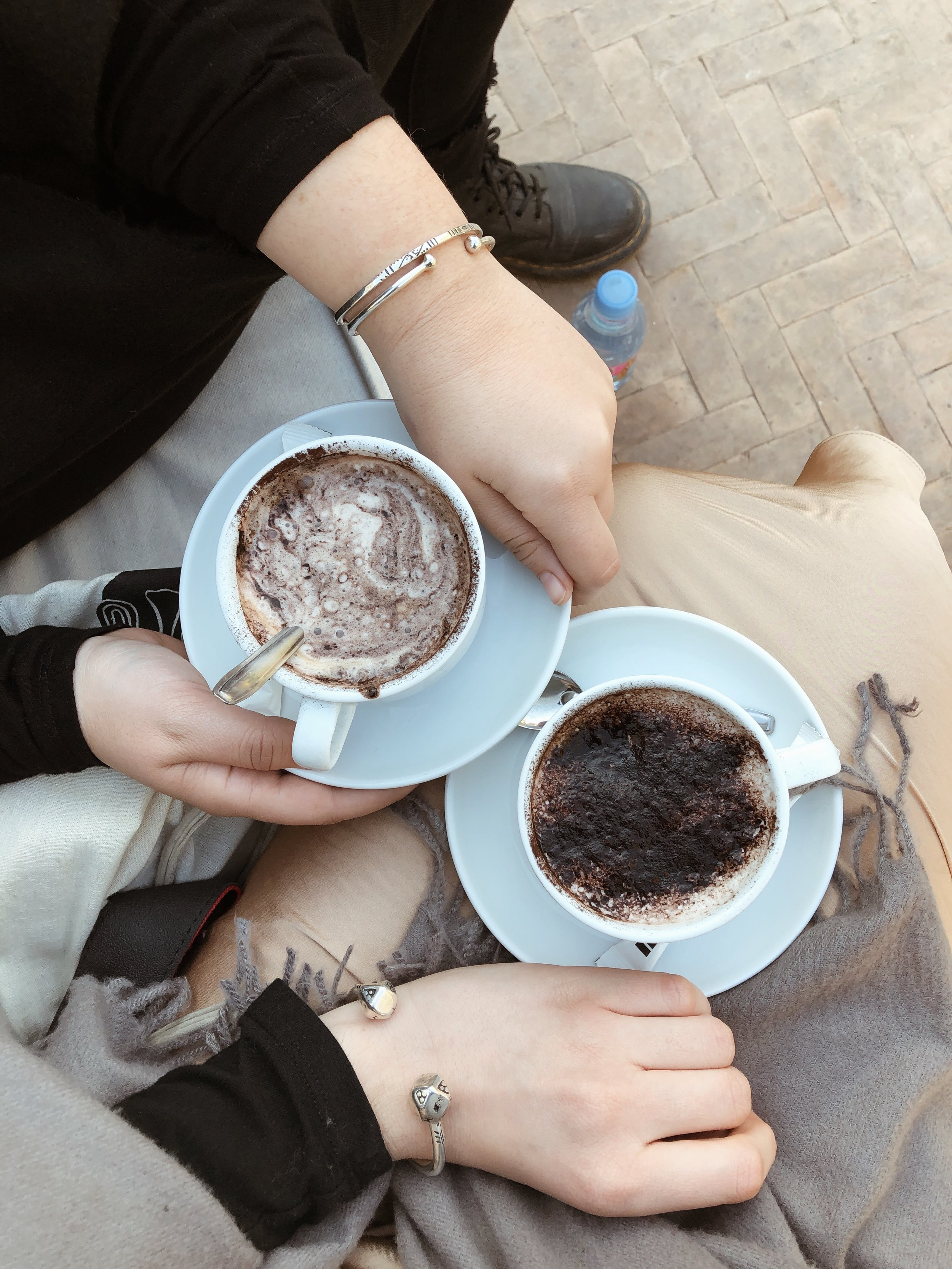 cappuccinos in hand and our new silver bangles on full display
