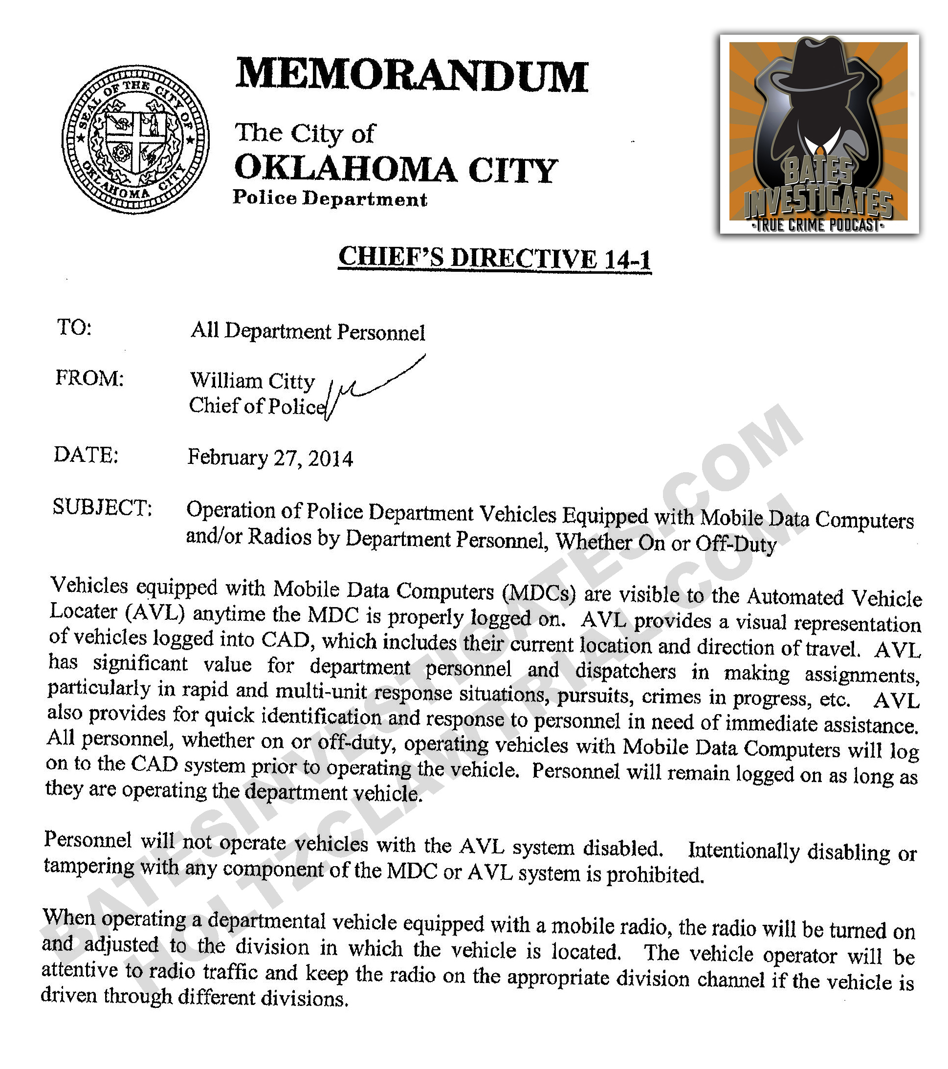 OCPD Chief's Directive regarding new AVL policy, dated 2/27/2014.