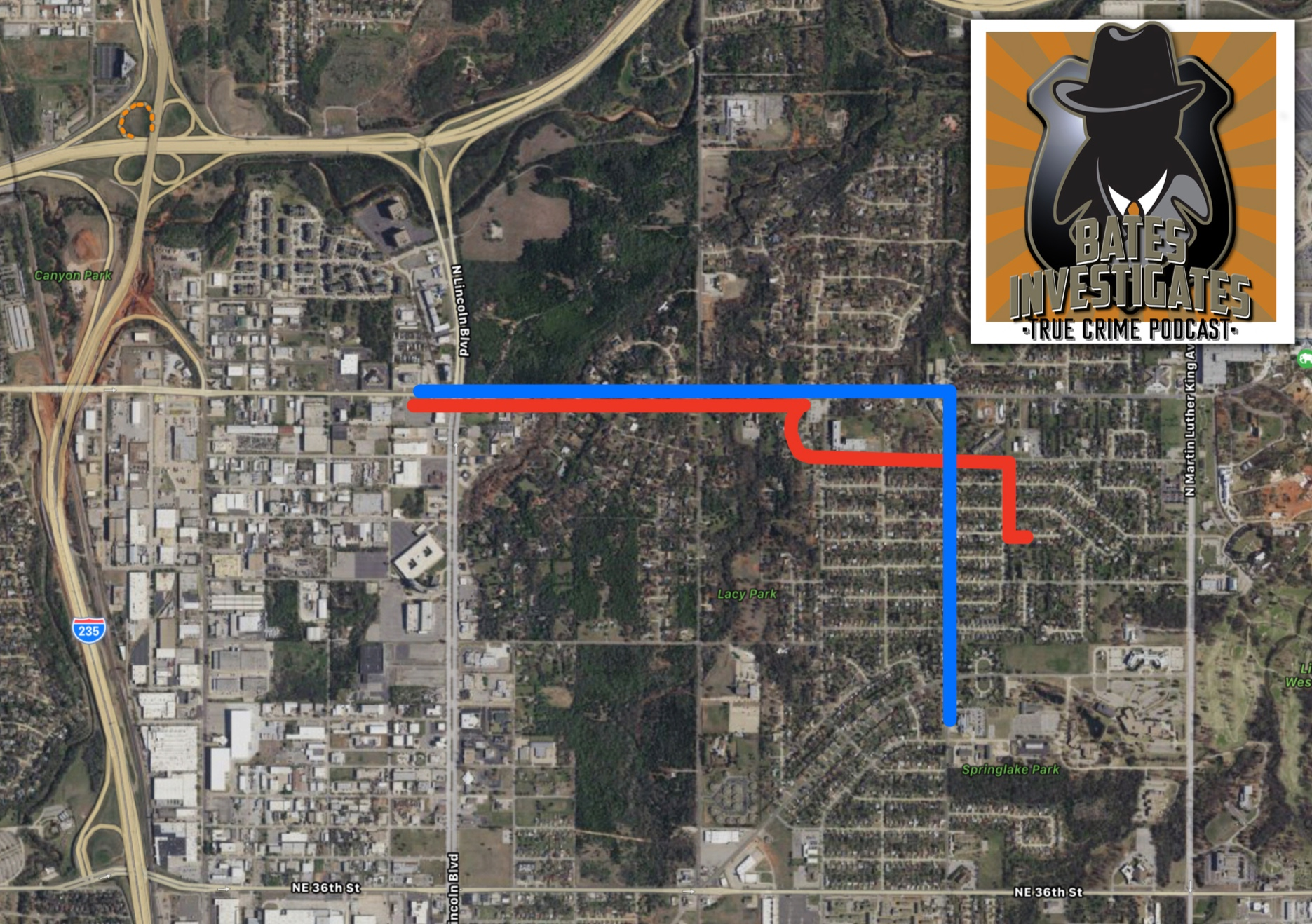 Overview Google Map of the route officer Holtzclaw and Ligons took prior to the stop. [Holtzclaw/Blue, Ligons/Red]