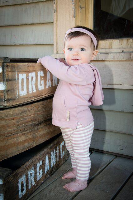 Pink hooded shirt & stripe pants
