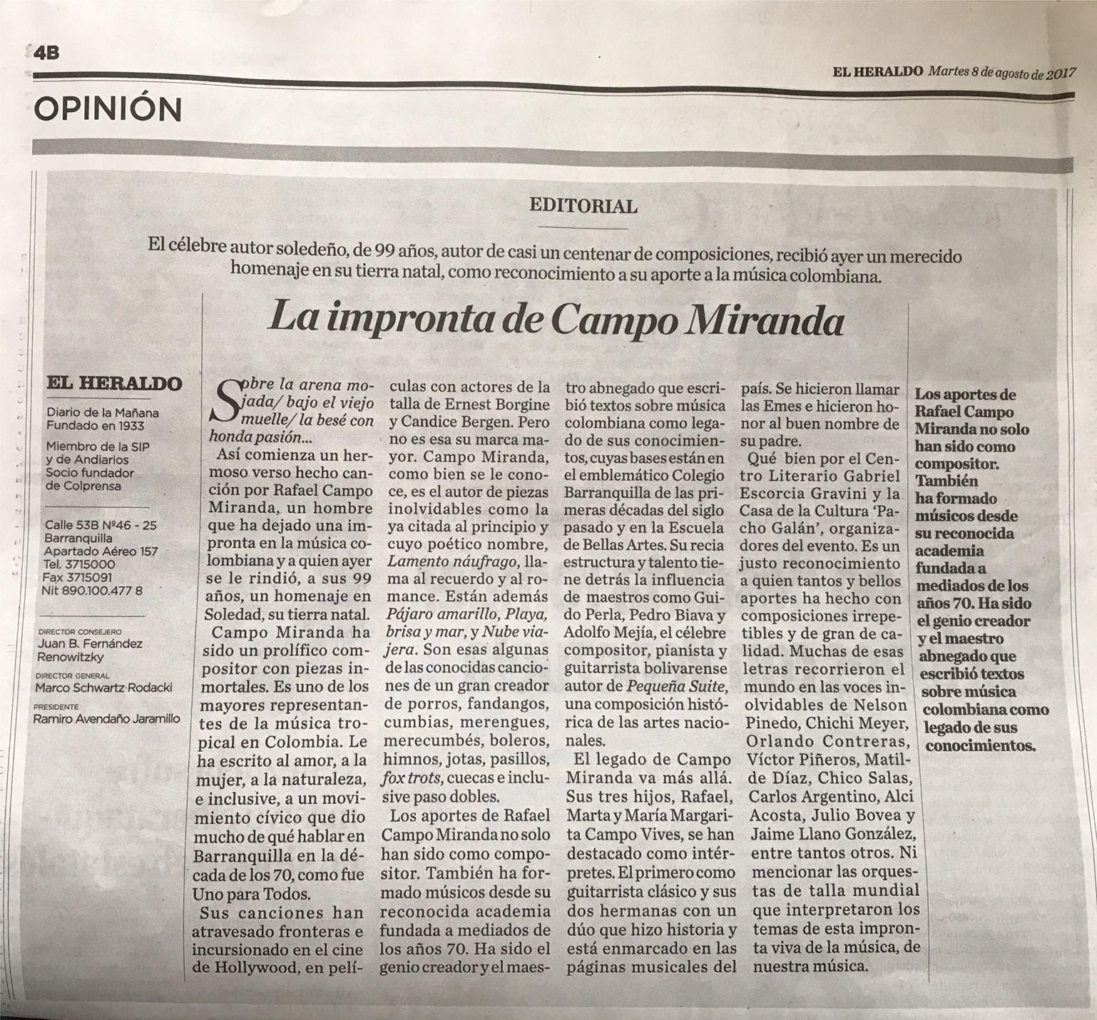Editorial de El Heraldo, martes 8 de Agosto de 2017 - Barranquilla / Colombia.