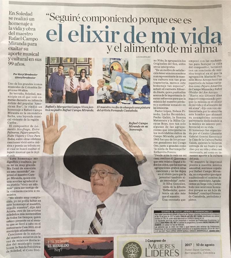 Crónica del periódico El Heraldo al cumplir Rafael Campo Miranda 99 años de edad.