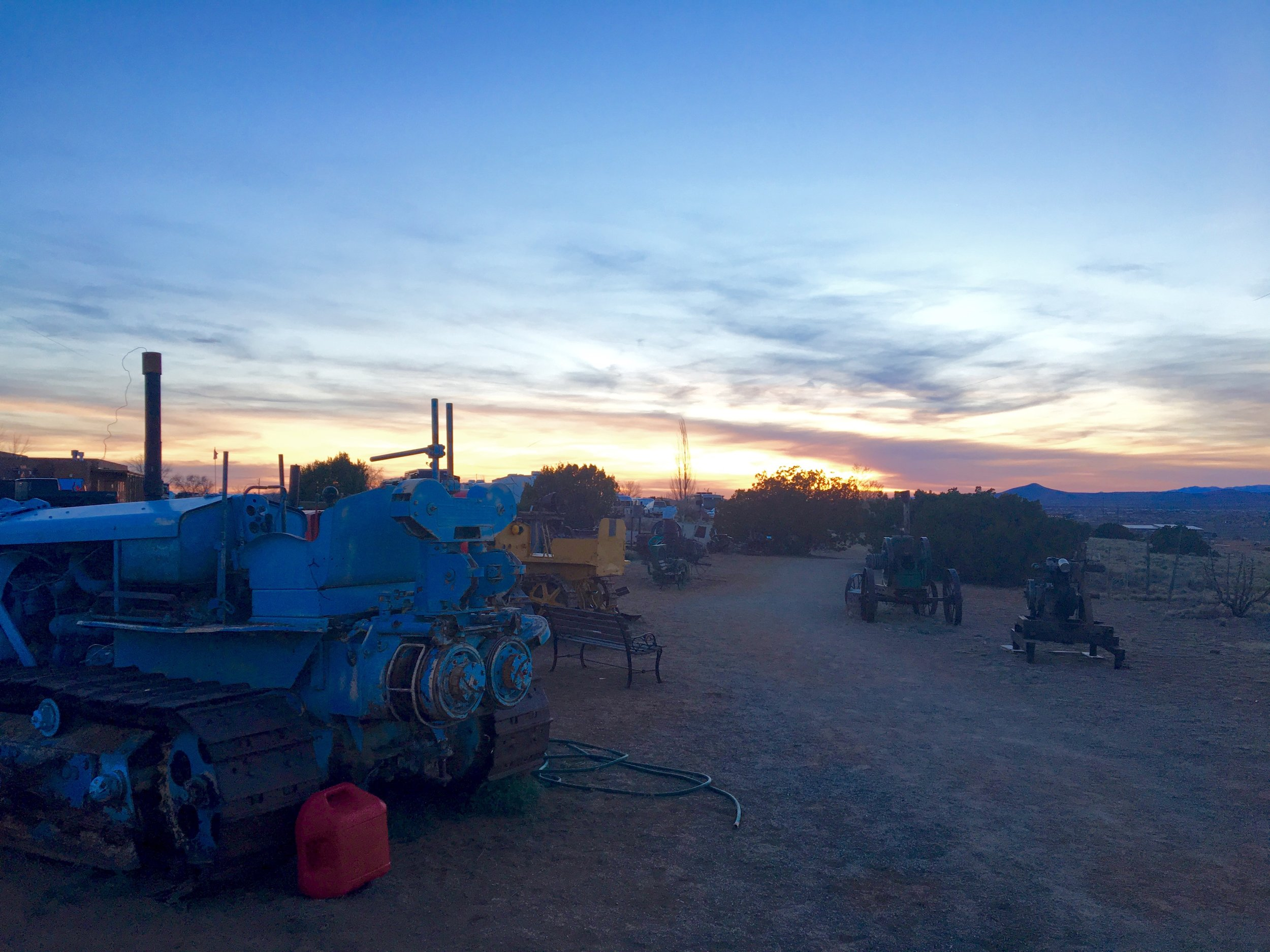 The vintage equipment made art around Santa Fe Skies RV Park
