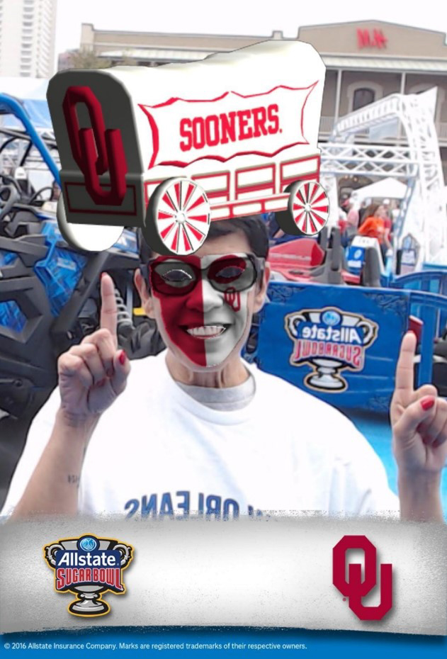 Sooners football fan with augmented reality face paint