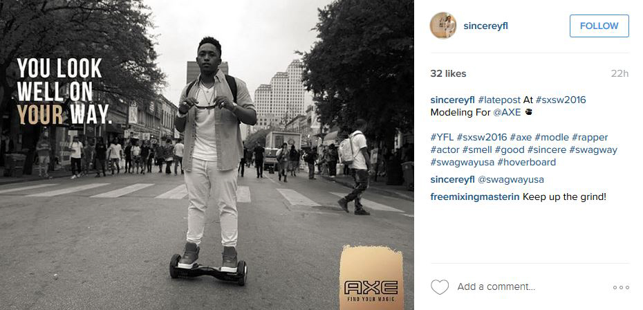 Social media post of man on hoverboard for AXE SxSW Digital Billboard