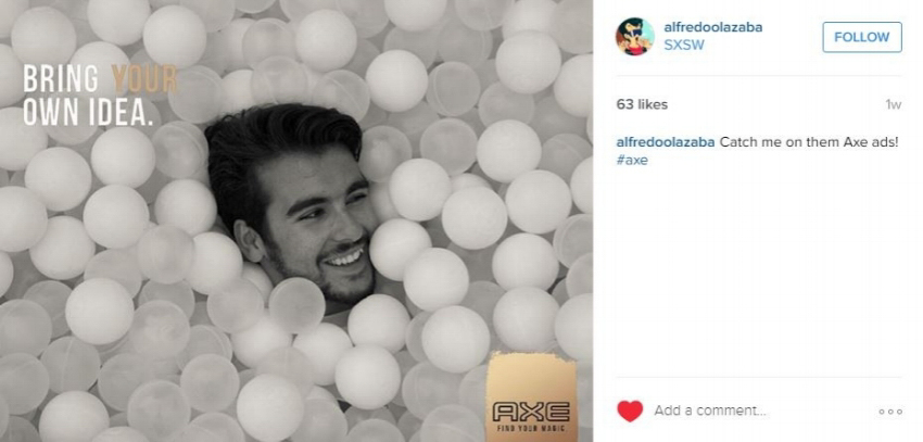 social media post of man in ball pit for AXE SxSW Digital Billboard