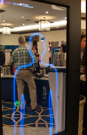 Silhouette outline displayed on a interactive digital mirror