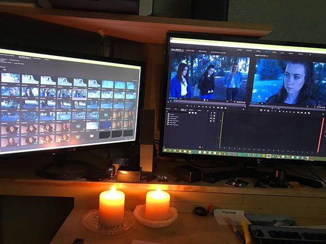 Editing one of the American Mythos episodes in candlelight does make it spookier for sure. #candles #candlelight #videoediting #americanmythos #shortfilm #thewitchesgrave #marblemountainfilms