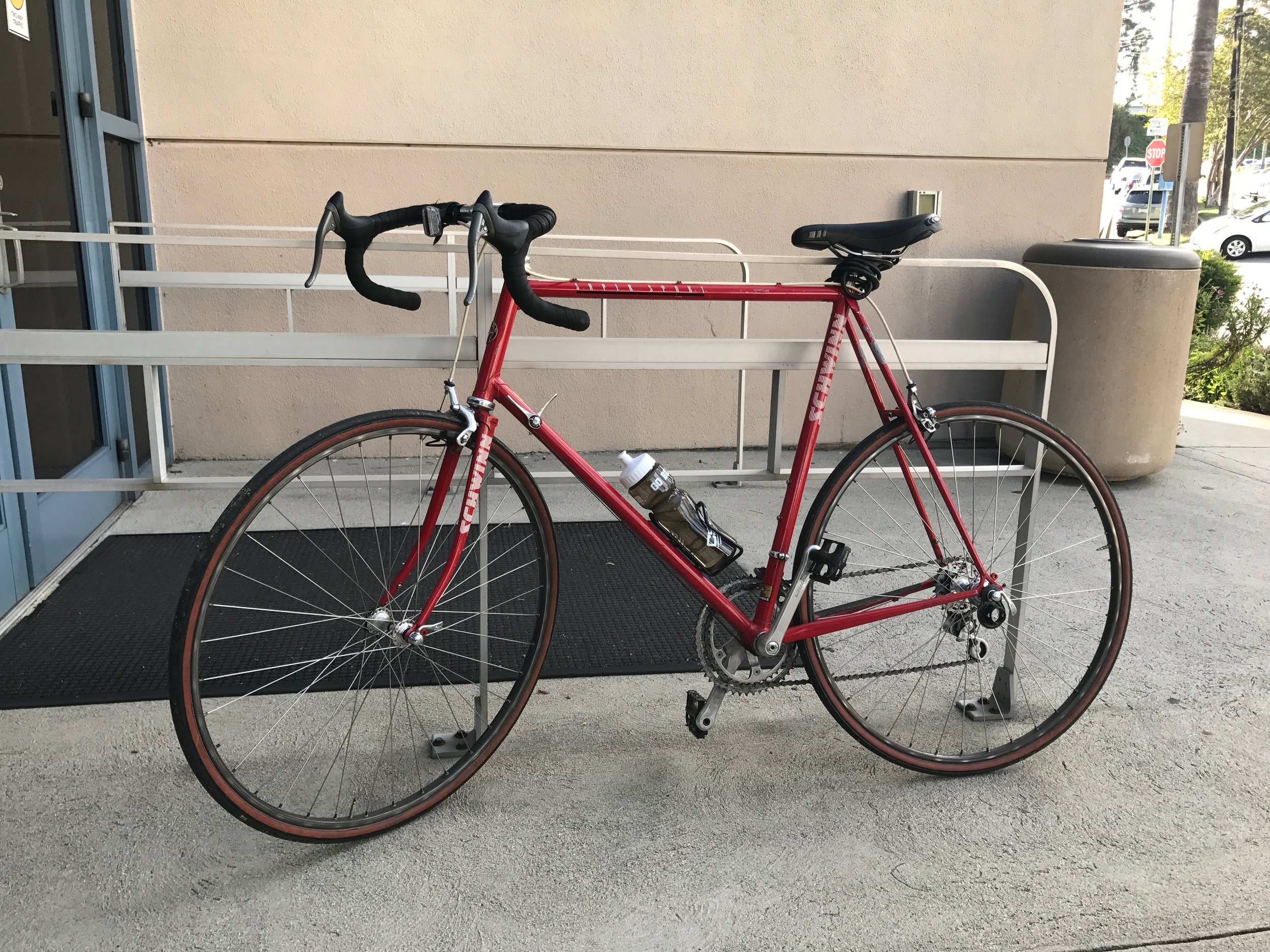 It's locked to the rail. I figured that even bike thieves would be loathe to steal from a cancer center.
