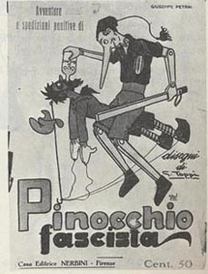 """Pinocchio in 1923, who inflicts lesson after lesson upon the cowardly Red, forcing him to gulp down castor oil, the ritual humiliating punishment of intellectuals and other opponents to the regime."" -Giovanni Tiso"