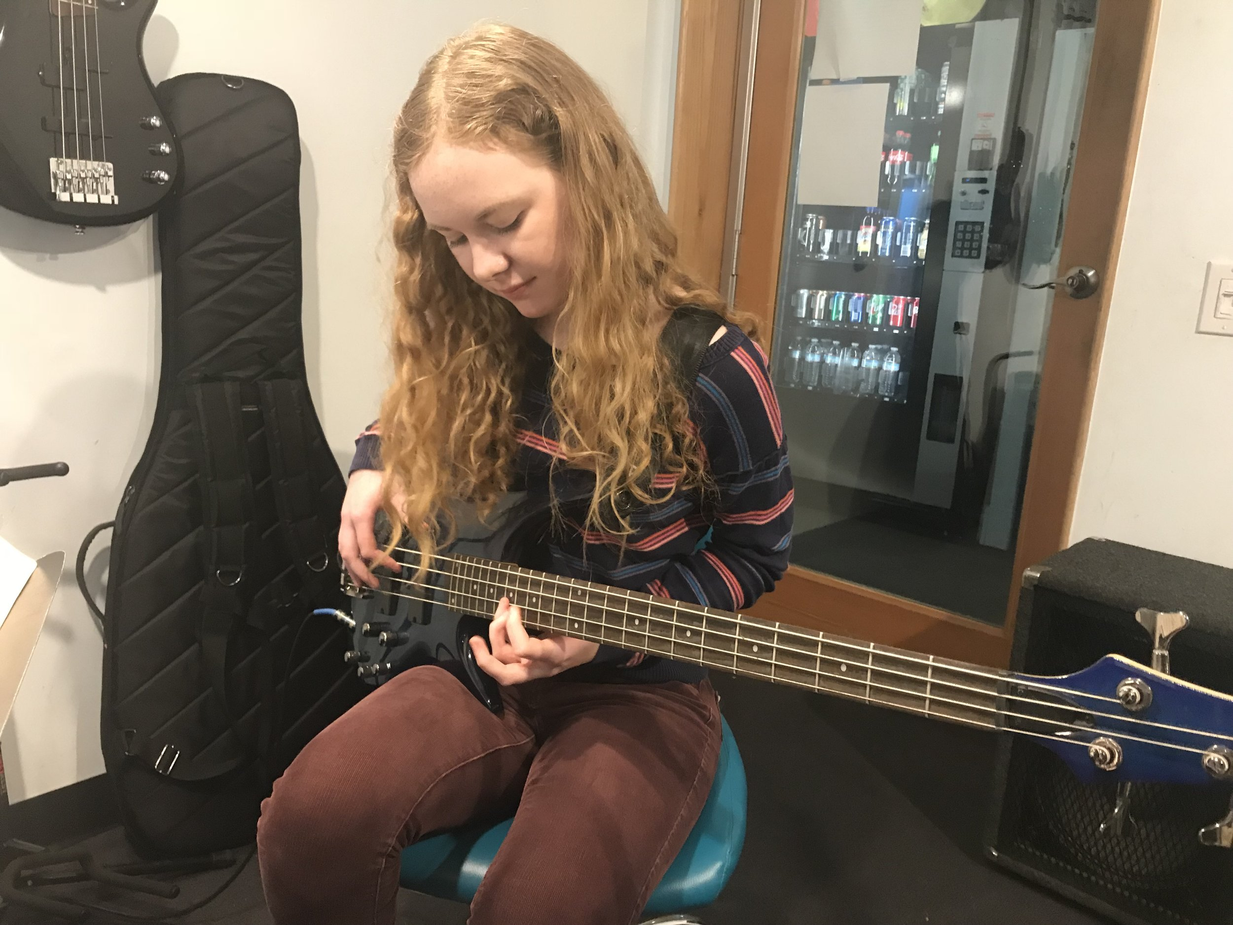 Katie Harms - Katie is going to LACM- The Los Angeles College of Music in Pasadena, CA. Her emphasis will be in composition. She is truly a powerhouse. She sings, plays piano, guitar and she's a killer bassist. There's nothing she can't do.