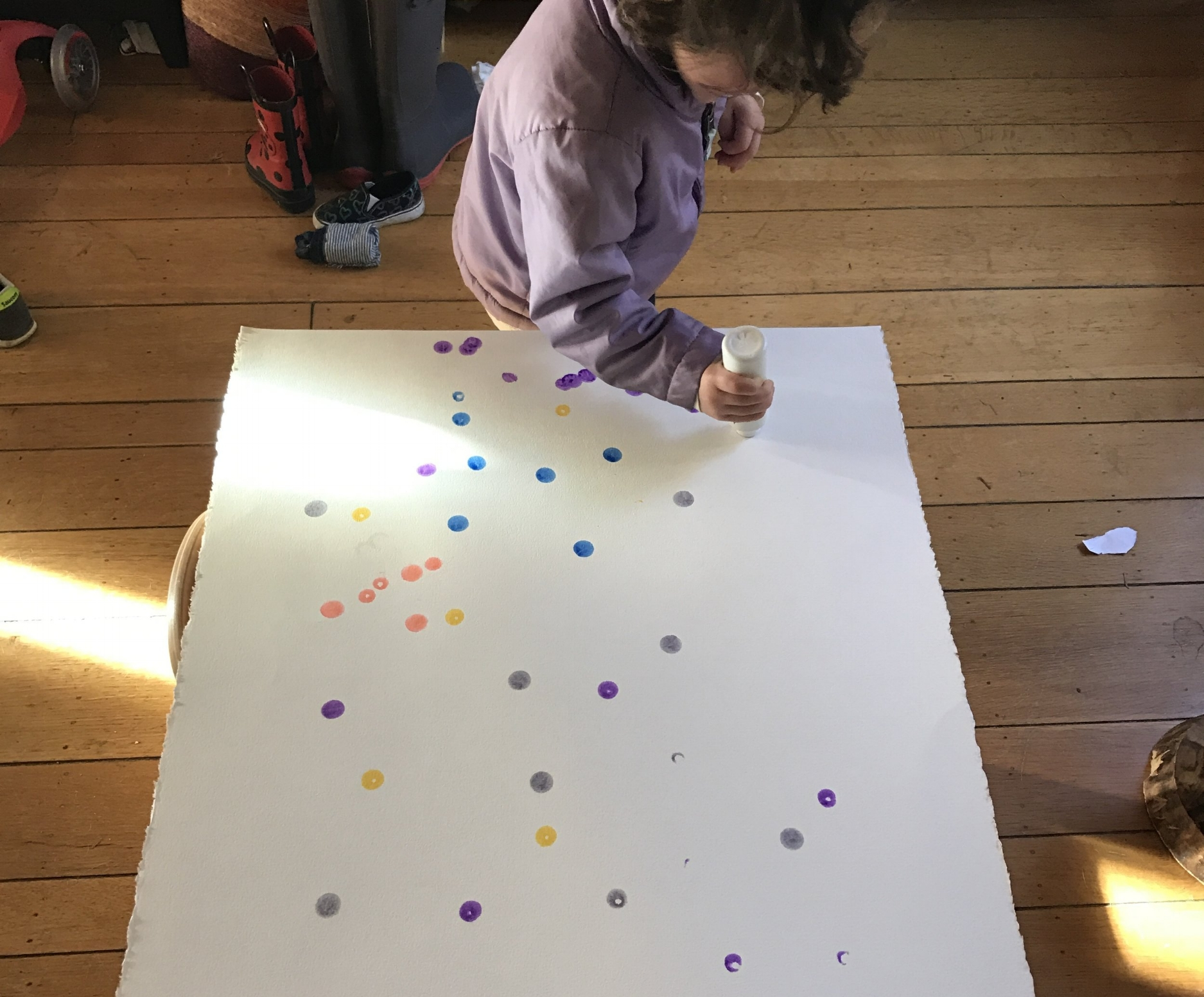 Decorate - 1. Child paints or otherwise decorates the whole paper. They can do this whole process themselves (as long as the paint stays on the paper!)