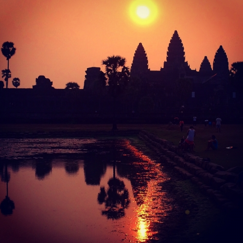 Sunrise over the Angkor Watt Temples in Siem Reap, Cambodia