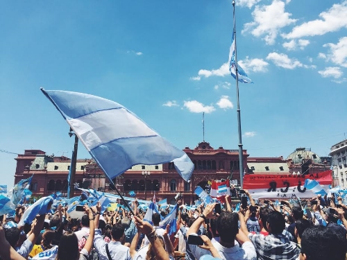 Cheering the new president, Buenos Aires, Argentina