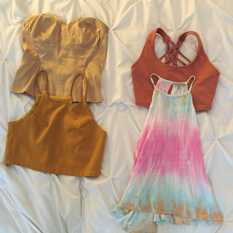 Summer tops with golden color scheme
