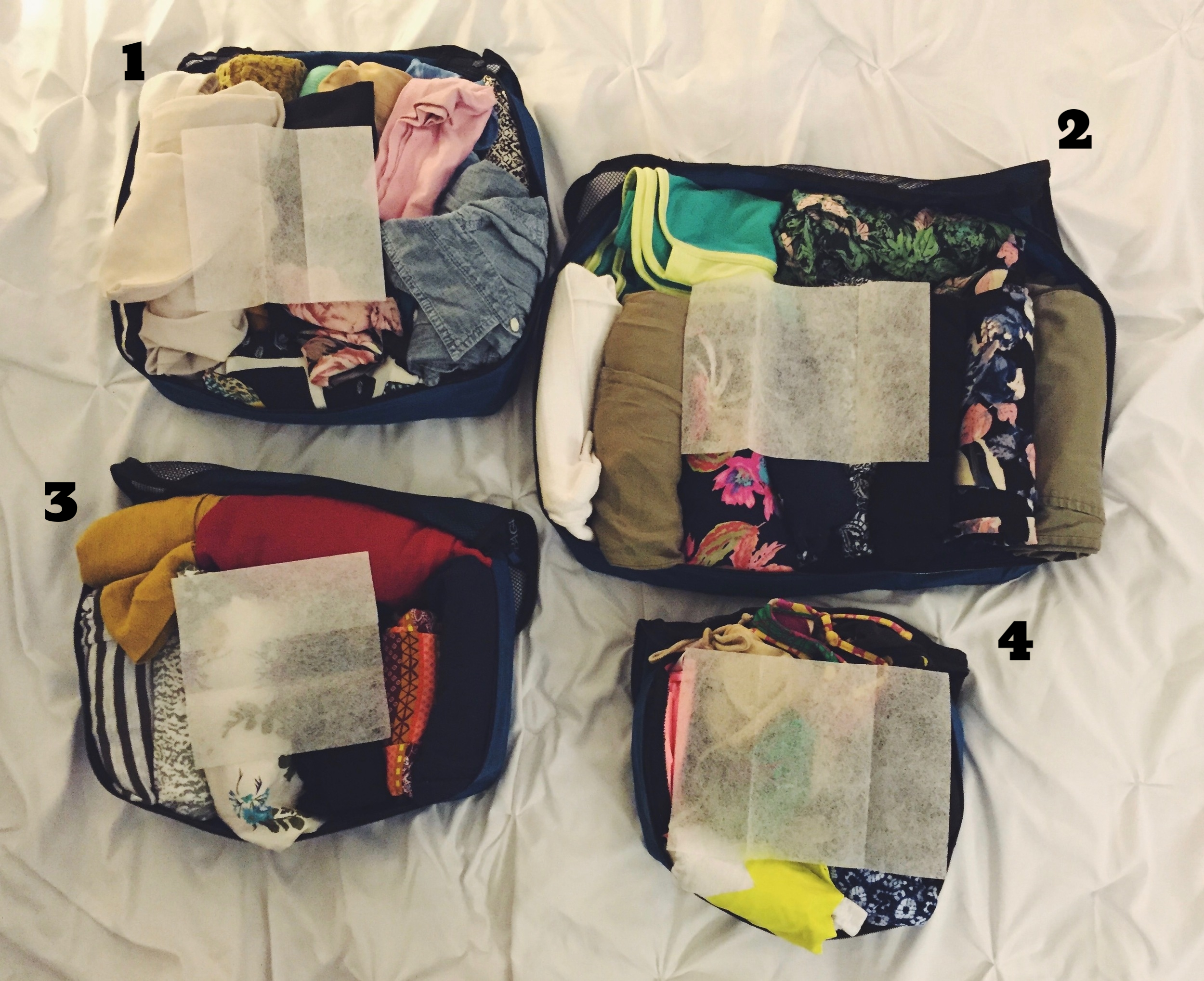 Packing Cubes with Laundry Sheets