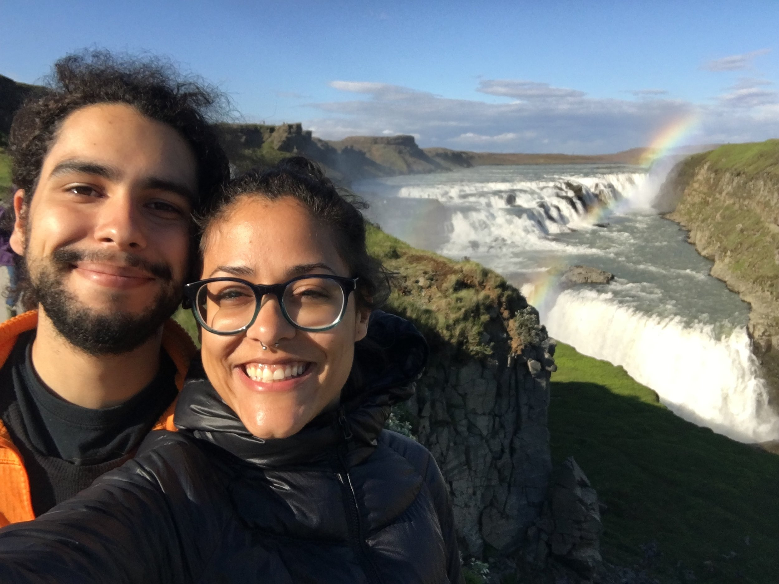 Andrew and I at Gullfoss Waterfall, which was the first major waterfall we saw on Day 1 of the road trip. There was a perfect rainbow that extended from one end of the waterfall to the other. Mesmerizing!
