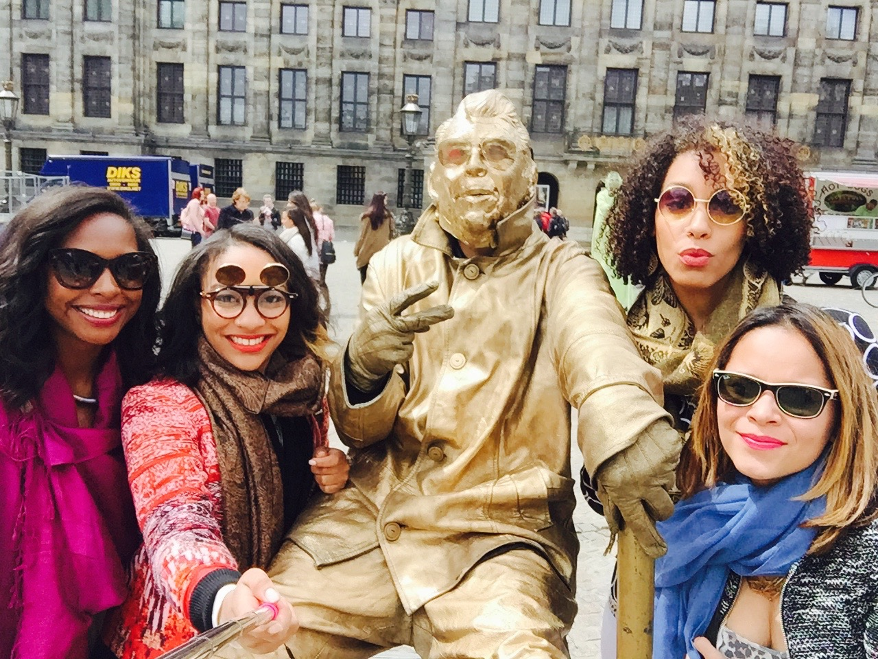 From left to right: Me, Maritza, Gold man, Carolina & Frances during our 2015 graduation and life celebration trip to Europe!