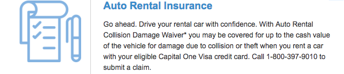 Screenshot of Auto Rental Collision Damage Benefit at Capital One.