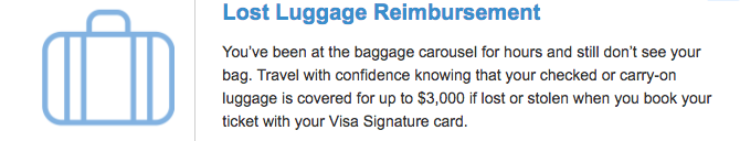Screenshot of Lost Luggage Reimbursement benefit at Capital One.