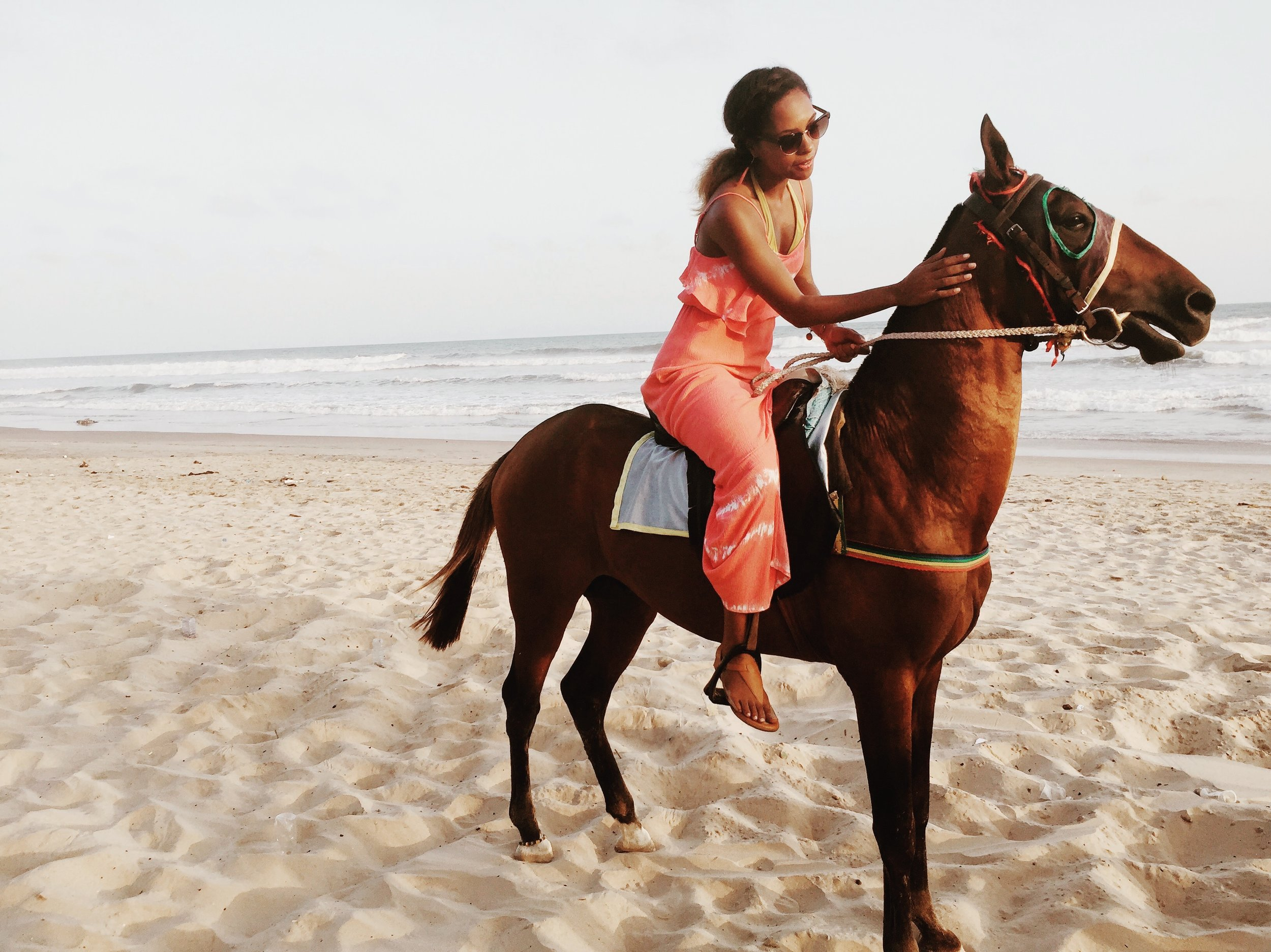My first time going horseback riding on a beach. This was at the Labadi Beach Hotel in Ghana.