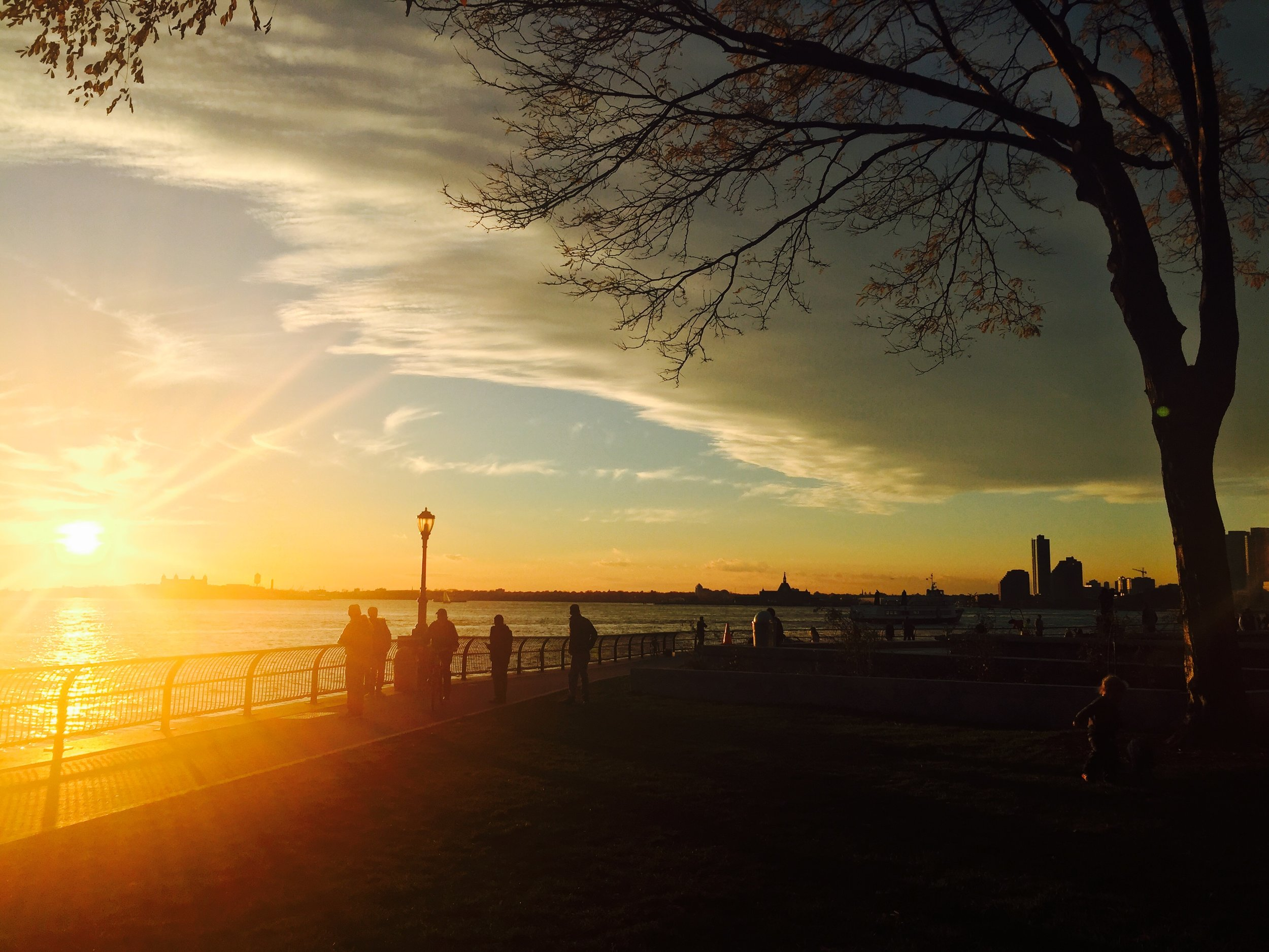 Gorgeous Sunset at Battery Park in NYC during the Fall!
