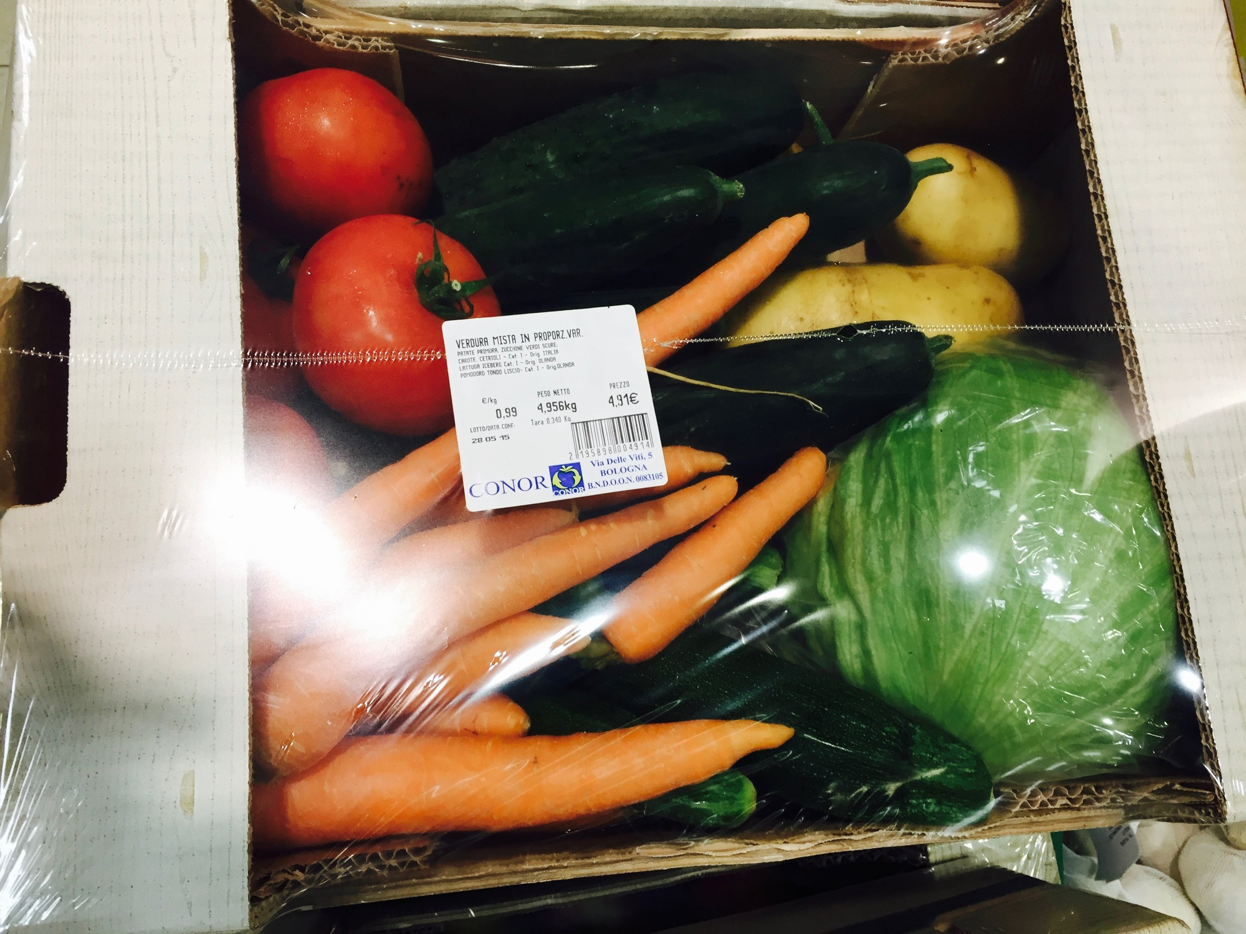 Fresh produce box in a local grocery store in Milan cost only 4 Euro (4.34 USD) !