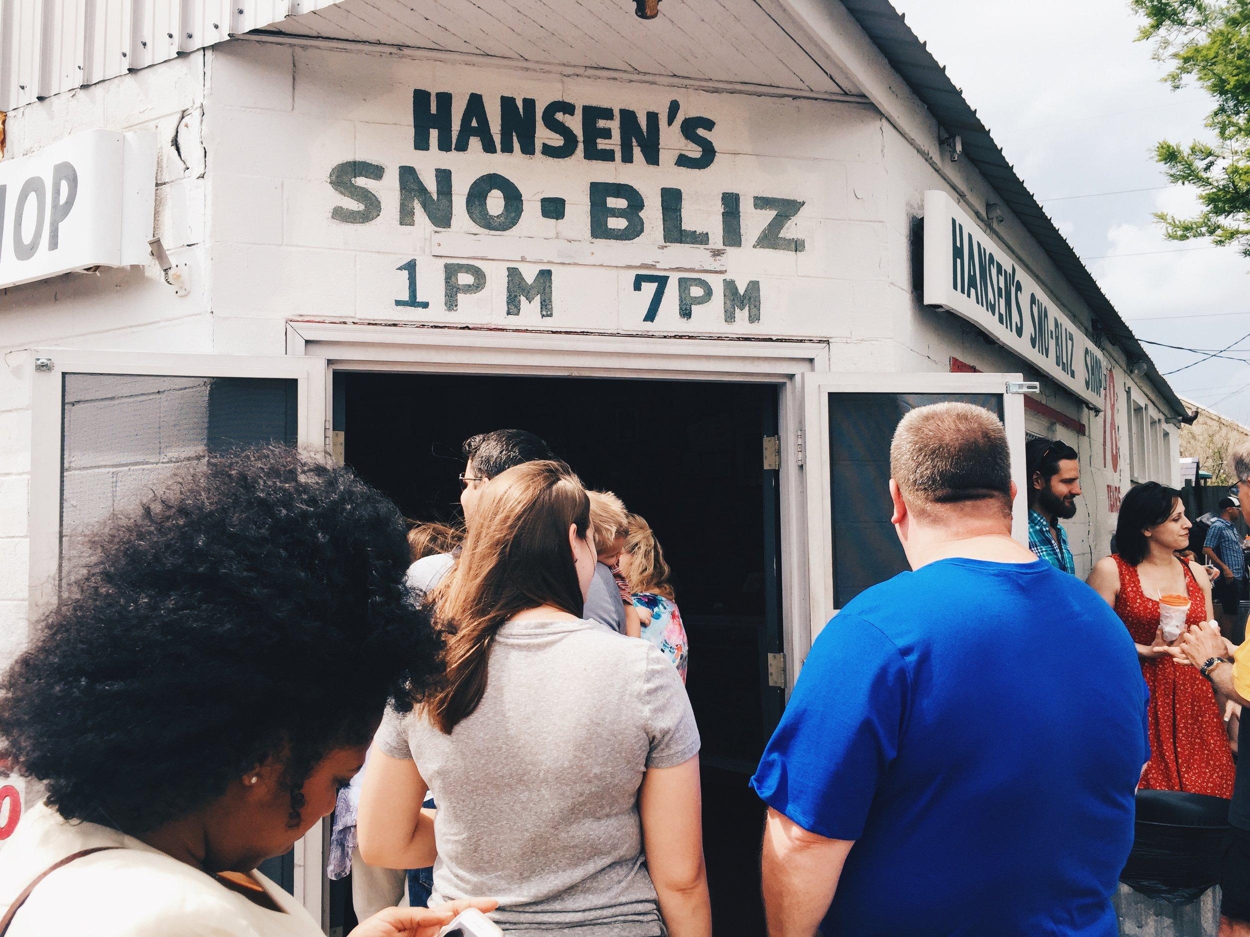 Line Outside of Hansen's Sno-Bliz Shop