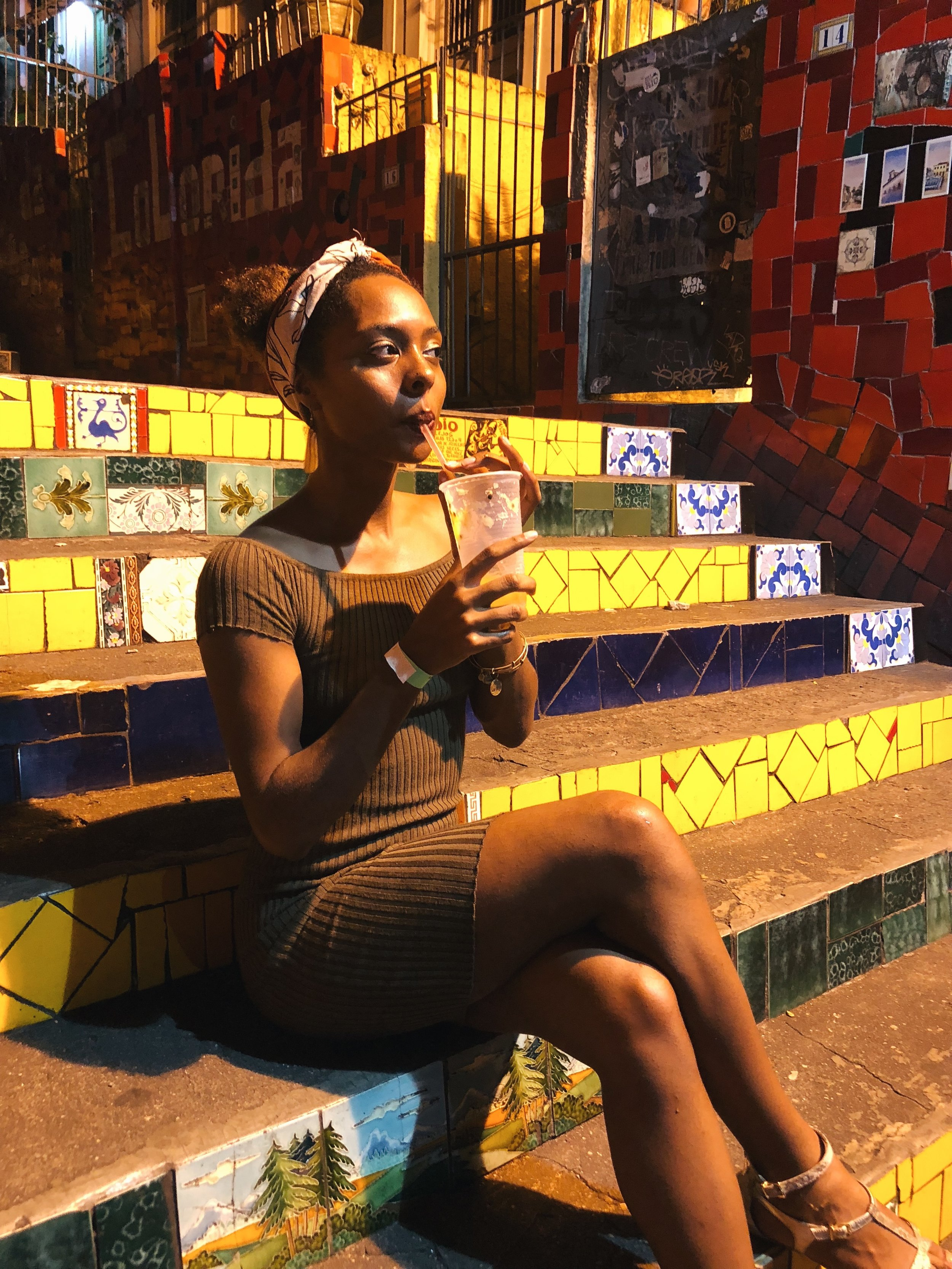 Me sipping my Caipirihna minding my business while enjoying a tourist-free photoshoot in the evening!