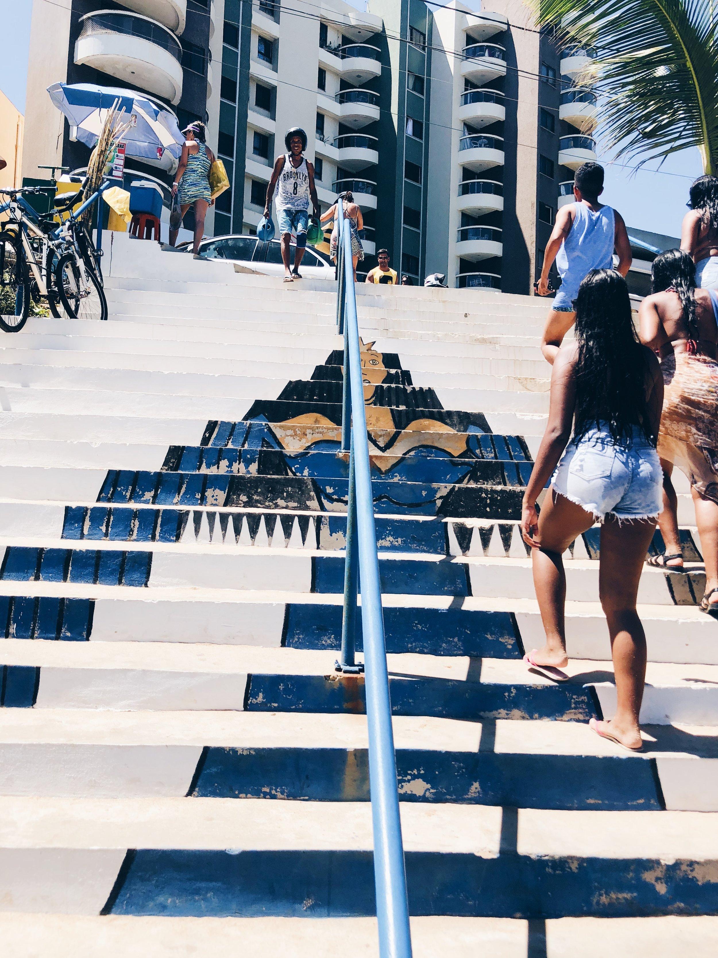 Staircase featuring Yemanjá/ Iemanjá, Brazilian Goddess of the Sea. Yemanjá is an orixa with Yoruba roots.