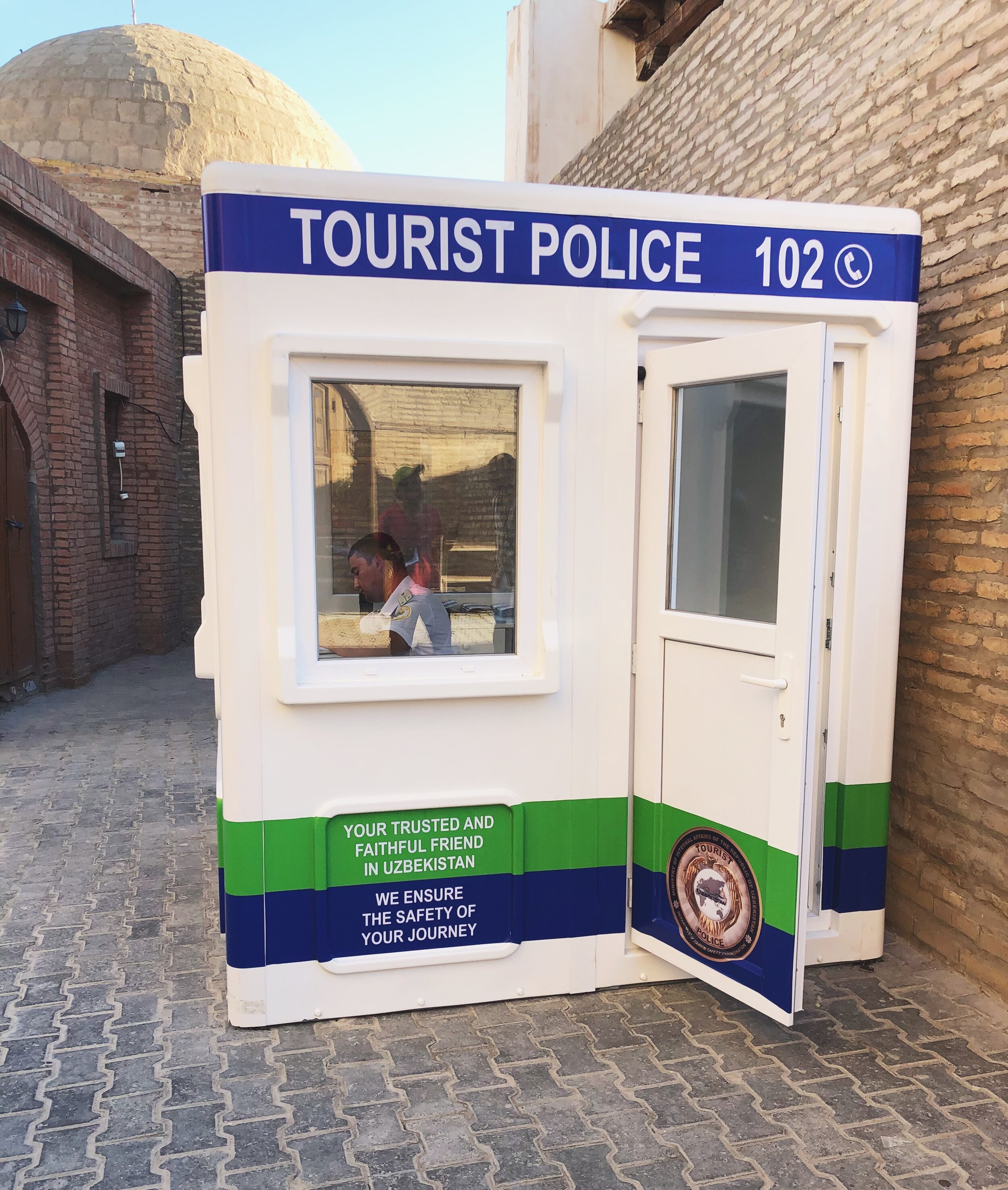 Tourists police stands are common in Uzbekistan.
