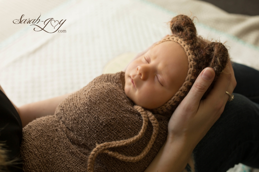 newborn baby boy in bear hat melbourne