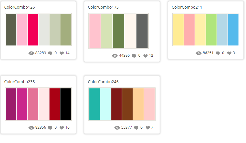 Colour palette suggestions from www.colorcombos.com